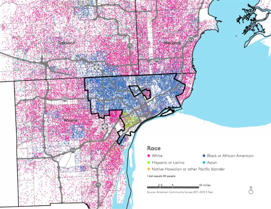 map of detroit suburbs These Detroit Commuting Numbers Show Stark Inequality Next City map of detroit suburbs
