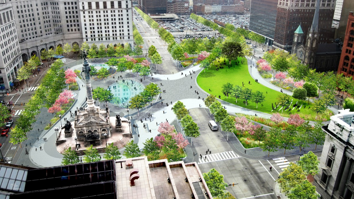 Cleveland s revamped public square mixes downtown s future for Master of landscape architecture adelaide university