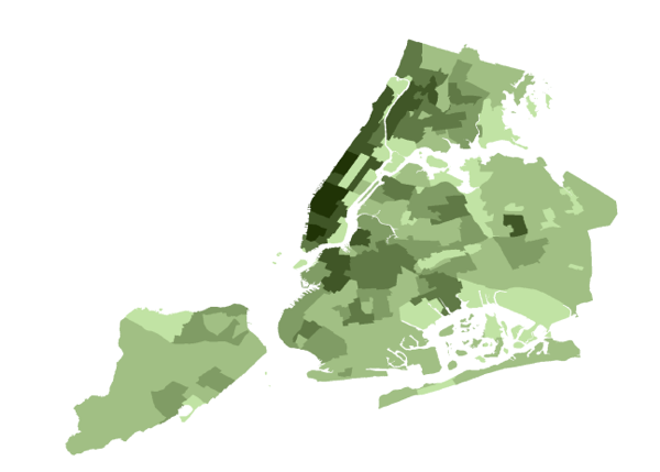 a map of new york city showing rates of pedestrian foot traffic with the darker the green indicating higher rates credit placemeter