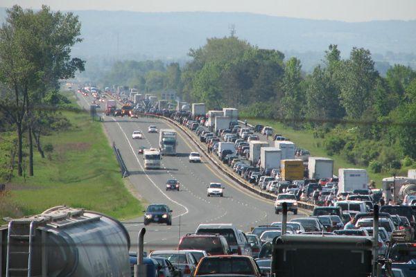Traffic jam on a highway