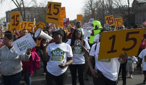 Protestors rally for a $15 minimum wage in Minneapolis on April 15, 2015, as part of a nationwide action to demand a $15 minimum wage. Two years later, Minneapolis voted to raise the minimum wage to $15.