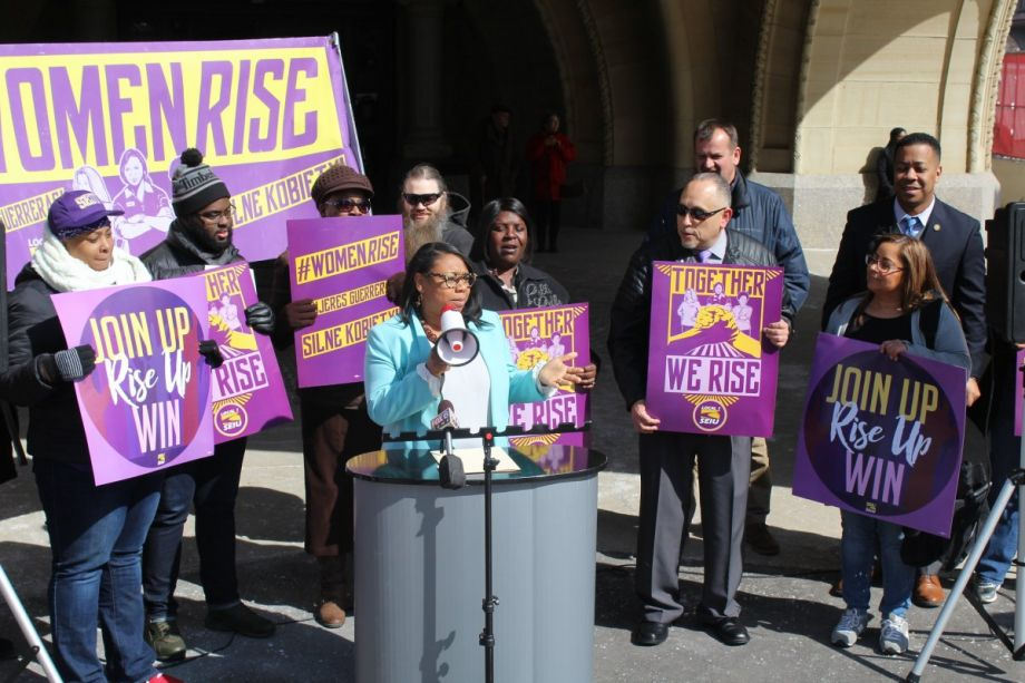 Alderwoman Chantia Lewis rallies with SEIU Local 1 in support of equal pay and union rights. (File photo, April 10, 2018)