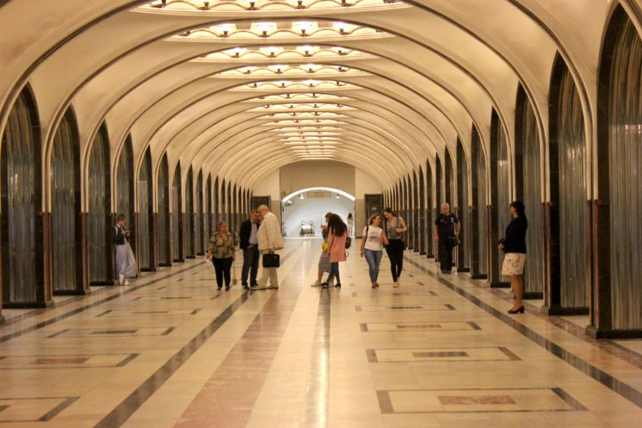 A station (Mayakovskaya) in the Moscow Metro