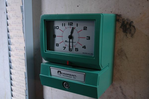 Old-style time clock.