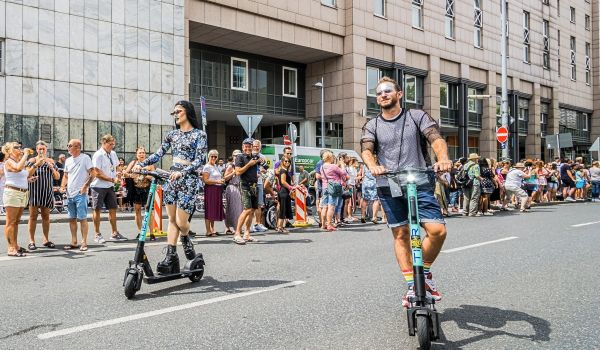 E-scooters in Frankfurt, Germany, during Frankfurt Pride.