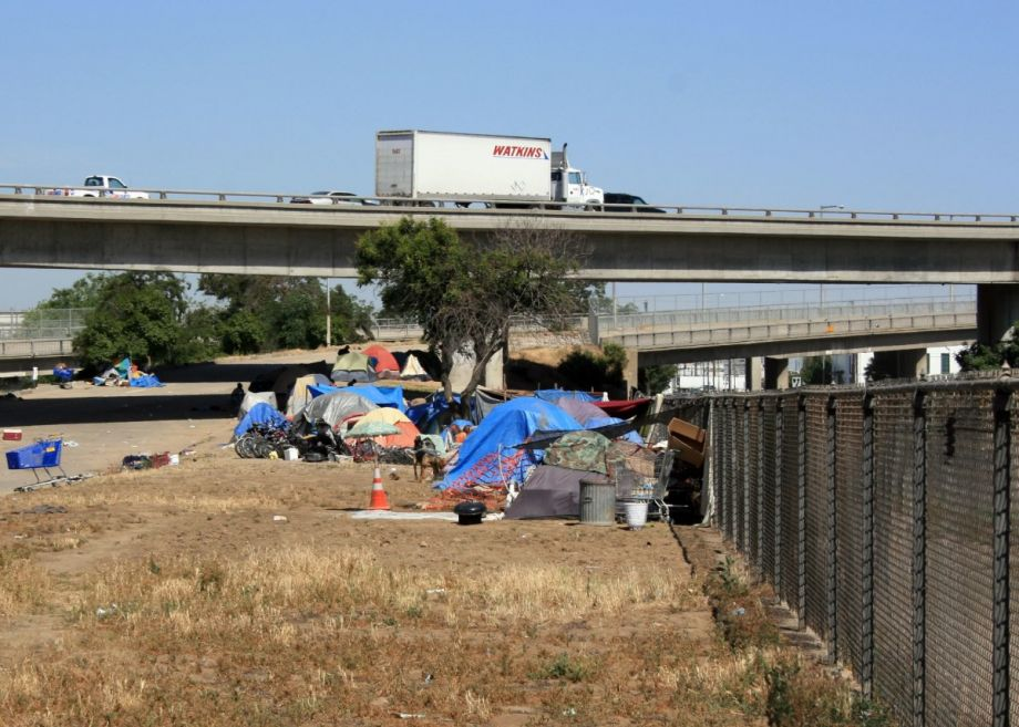 A tent city in Calwa, California, near Fresno.