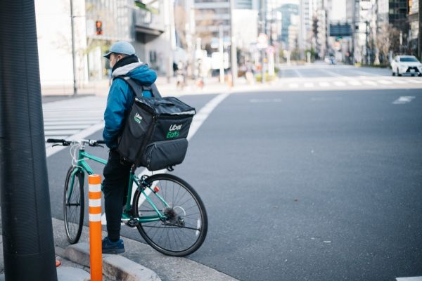 UberEats bike delivery person