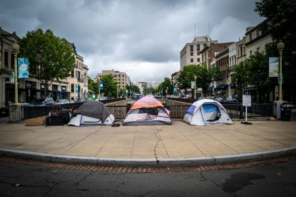 Three tents owned by people experiencing homelessness in Dupont Circle, Washington DC