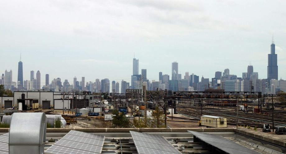Solar panels at the Chicago Center for Green Technology.