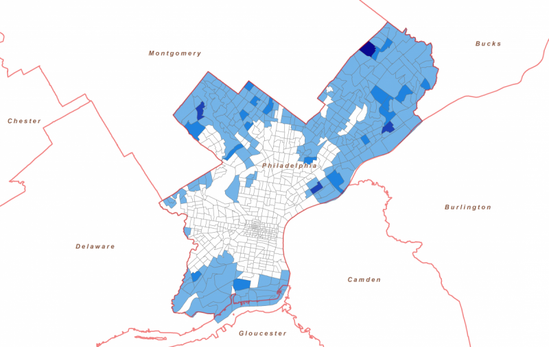 The Philadelphia Map Reveals Which Neighborhood Tracts Have The Highest Concentrations Of Residents Who Are Vulnerable To Transportation Poverty