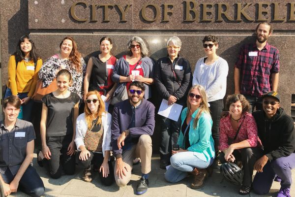 Worker co-op members and advocates outside of an August 2018 meeting of Berkeley City Council's Small Business Subcommittee.