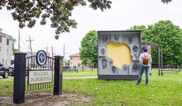 Artist Brendon Palmer-Angell designed this paper and wood monument to the people of Algiers, New Orleans' 15th ward.