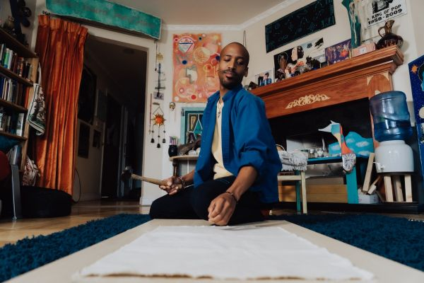 Artist Chris Watts was one of 130 artists randomly selected in San Francisco to receive $1,000 a month as part of a guaranteed income program specifically focused on artists in marginalized communities.