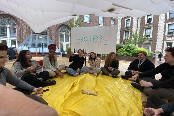 University class held outdoors