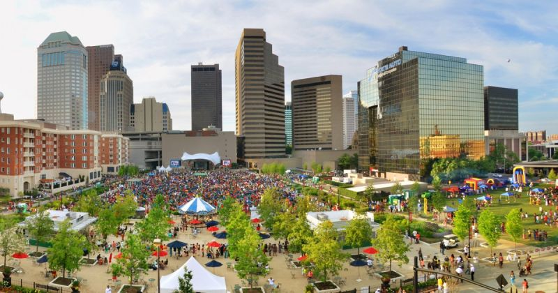 Columbus condemns dam reclaims a city center next city columbusites enjoy downtowns columbus commons which hosts concerts public festivals and events photo by randall scheiber sciox Choice Image