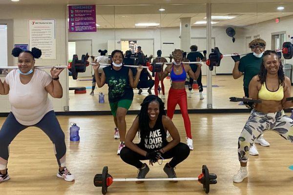 Women in a Body Pump fitness class