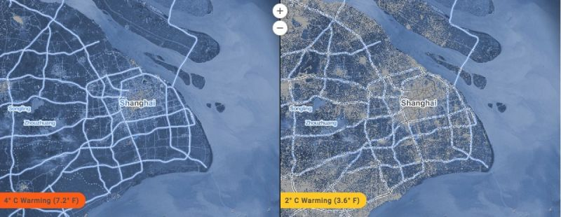 New Maps Show Worlds Cities Disappearing Under Water Next City - Shanghai on map with us