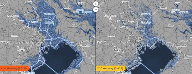 New Maps Show Worlds Cities Disappearing Under Water Next City - Map of the us with future sea leveles