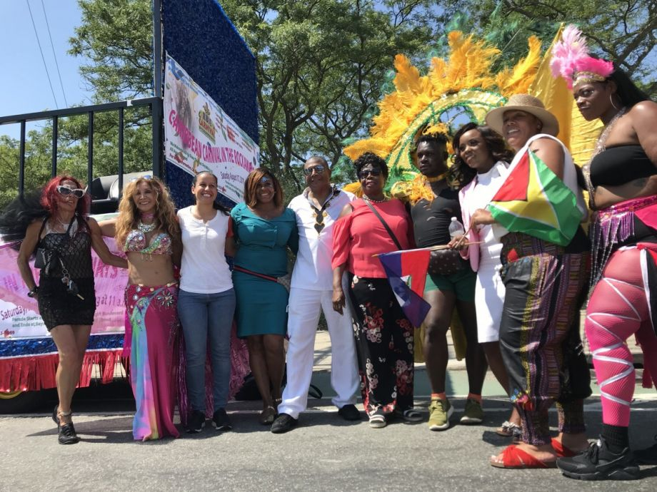 New York State Sen. James Sanders Jr. (center, in all white) at Carnival in the Rockaways in August 2019.