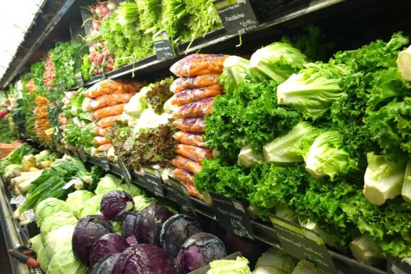 Produce aisle at Whole Foods