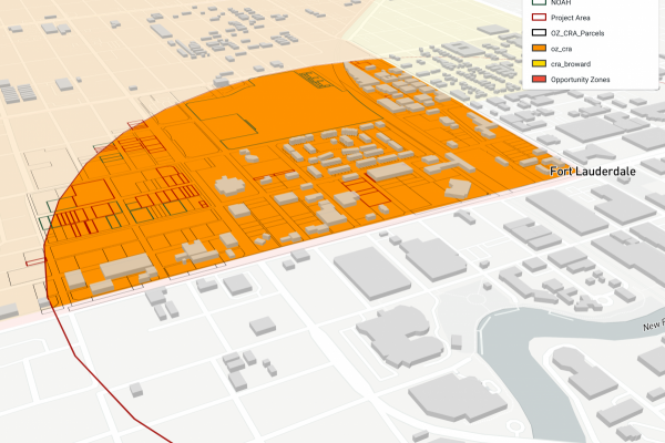 A map showing potential parcels of land that could be at risk for gentrification, or possible purchases by the coalition South Florida Housing Link Collaborative.