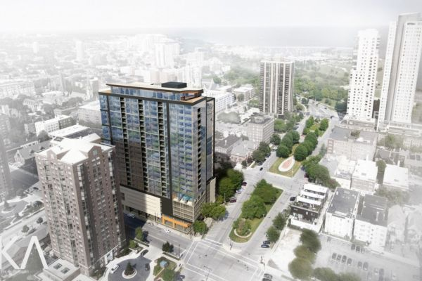rendering of The Ascent Milwaukee, planned mass timber building