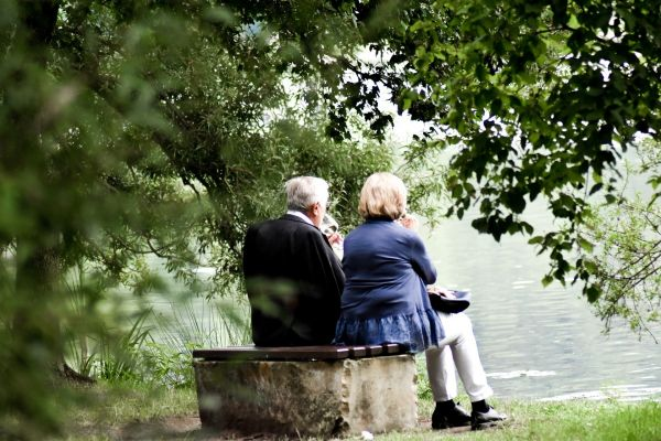senior couple sitting together