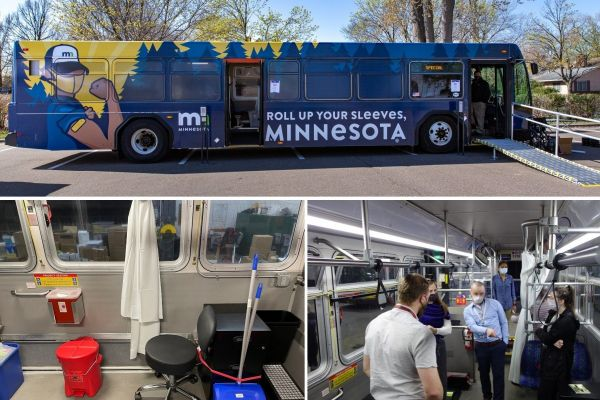 Composite image showing retrofitted Metro Transit vaccine buses